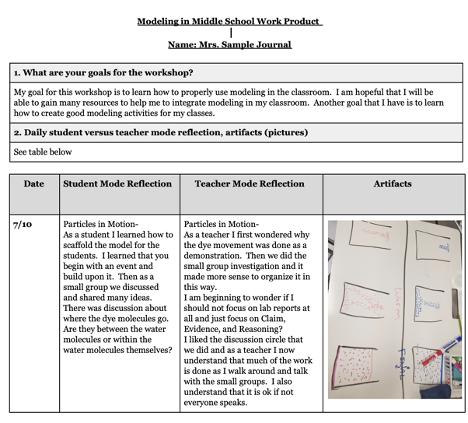 Sample Teacher Journal